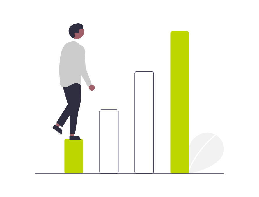 A graphic showing a figure stepping up a growing bar chart
